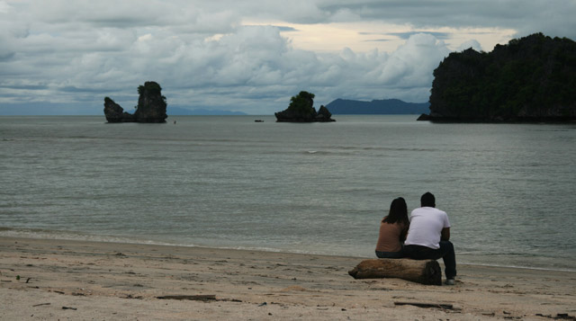 romantic sunset on langkawi beach