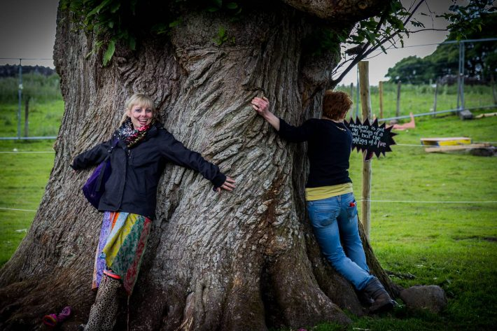 It seems apt that before a hand-fasting there should be some tree-hugging.  Bloody hippies.