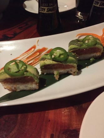 Close up of the Tuna Rice Cakes