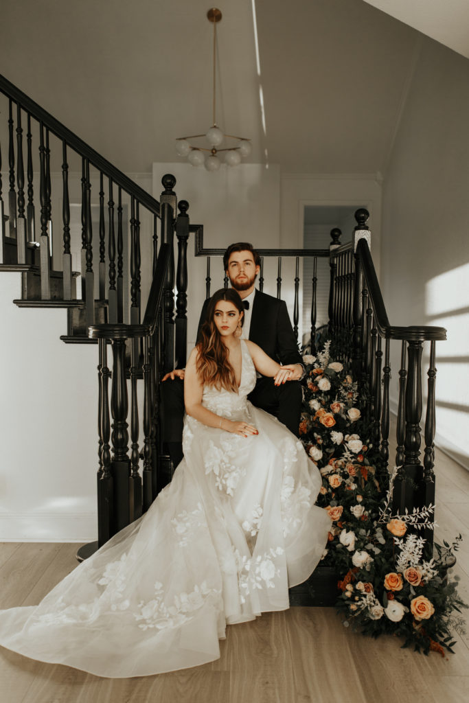 Gown from Lovely Bride Dallas - Modern styled shoot at The Emerson with Madeline Shea Photography and Alexa Kay Events | Dallas DFW Wedding Planner