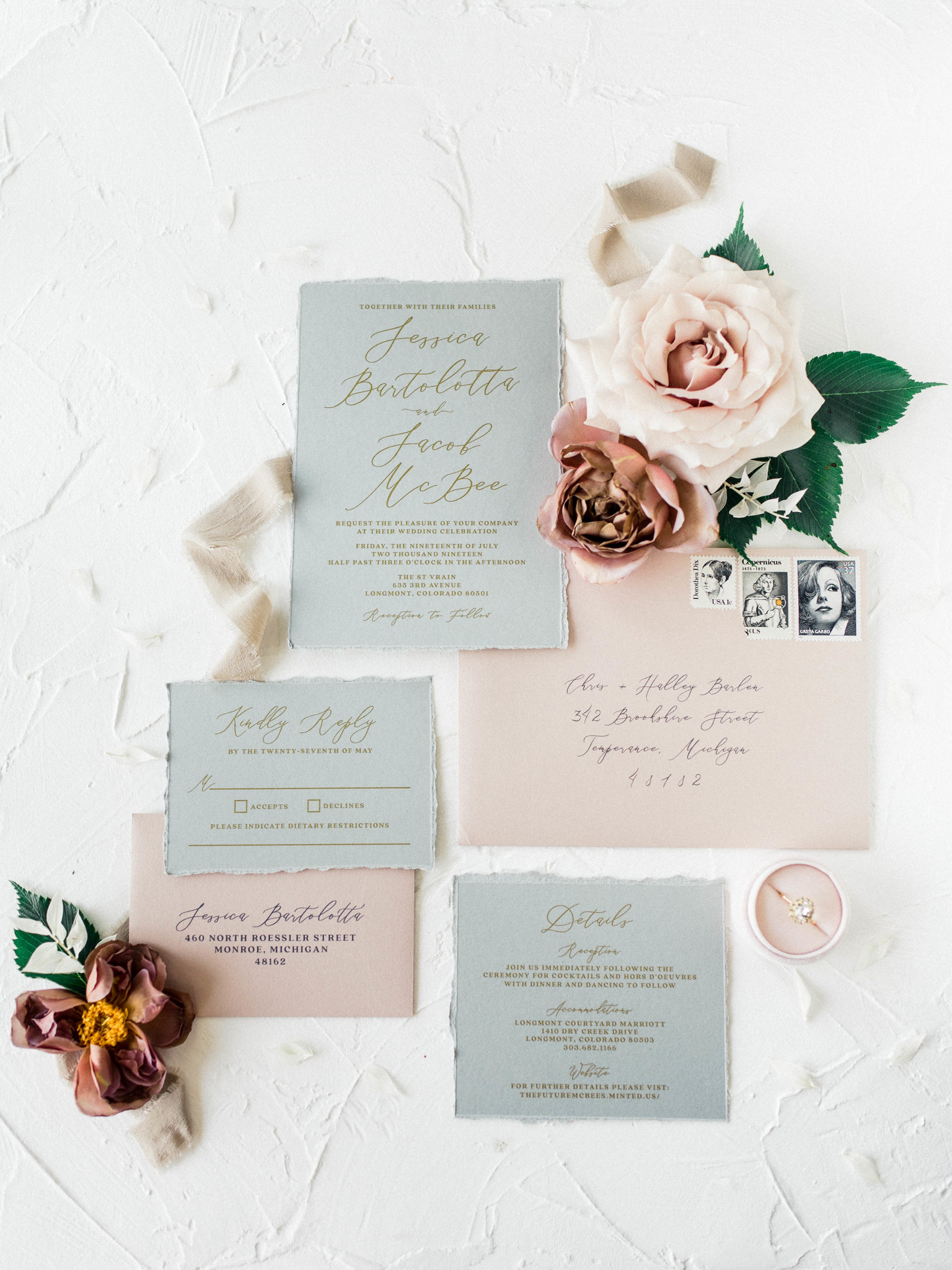 Wedding stationery suite: Whimsical mauve wedding inspiration on Alexa Kay Events. See more romantic wedding ideas at alexakayevents.com!