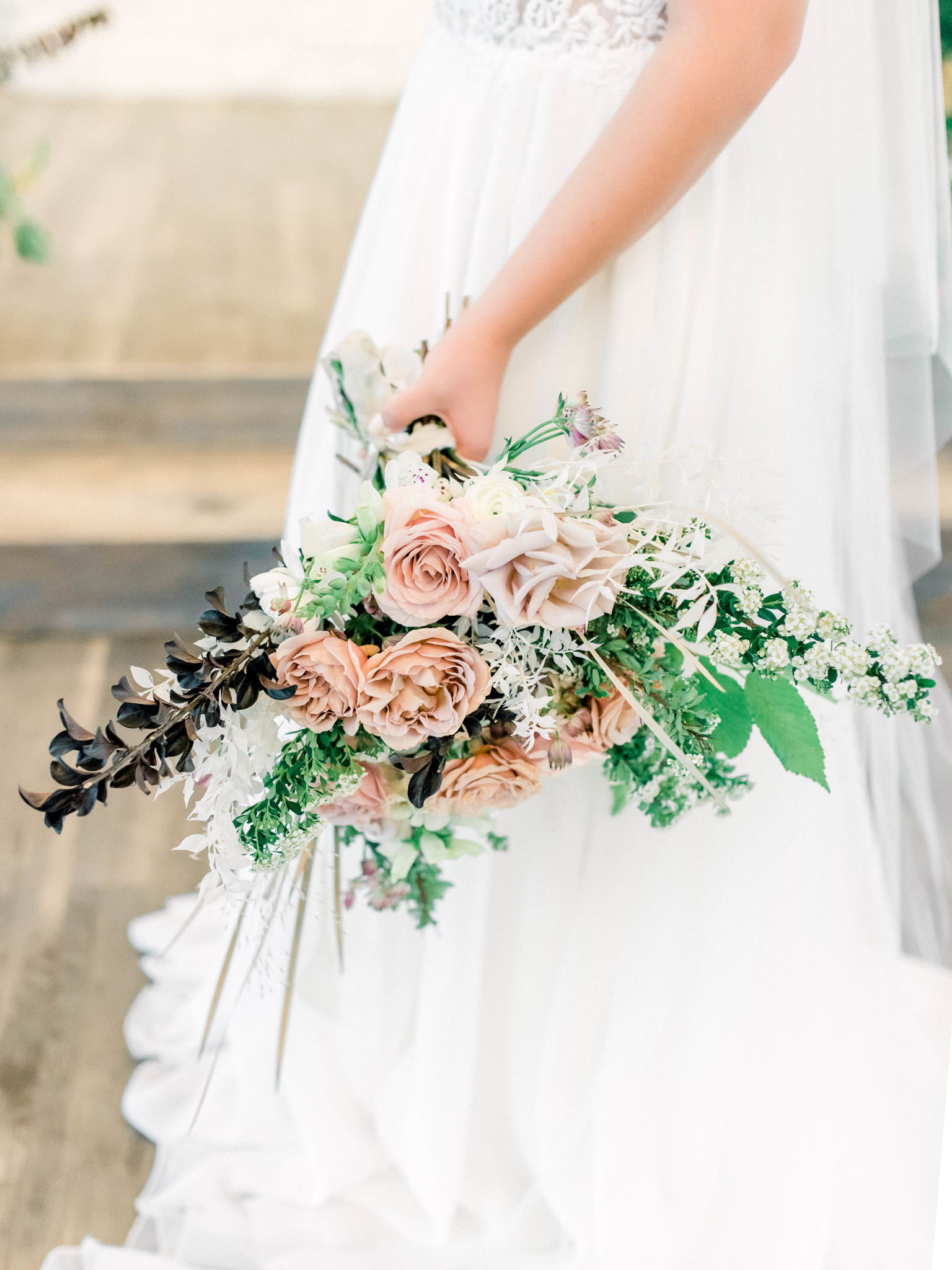Pink and greenery wedding bouquet: Whimsical mauve wedding inspiration on Alexa Kay Events. See more romantic wedding ideas at alexakayevents.com!