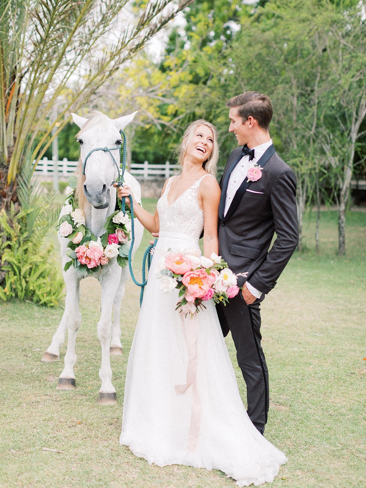 Floral wreath for wedding horse: Beach Wedding Inspiration | Dominican Republic