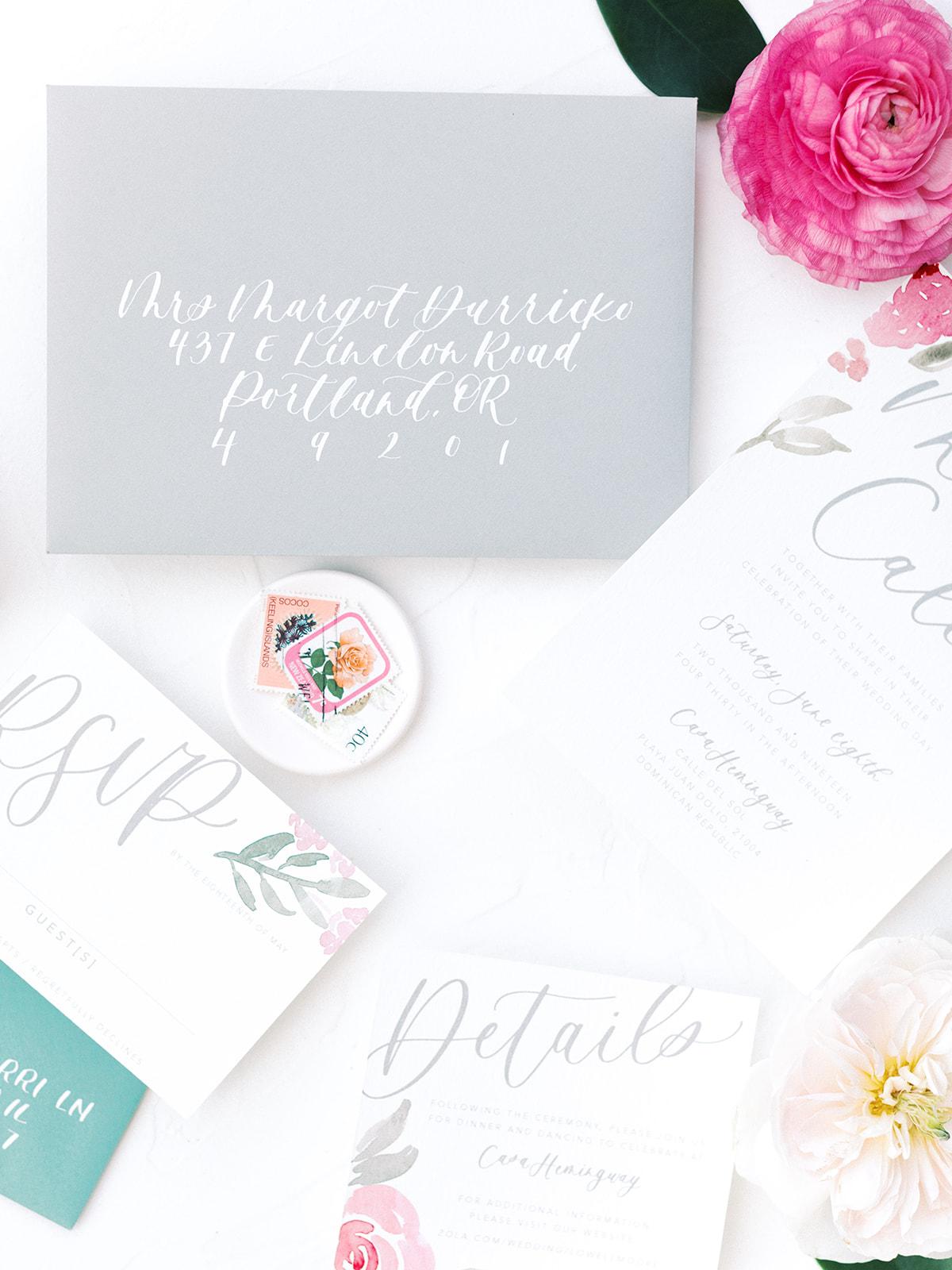 Wedding envelope addressing: Beach Wedding Inspiration | Dominican Republic
