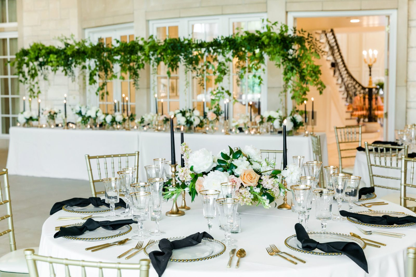 Peach and white low wedding centerpieces: Sophisticated and Chic wedding inspiration on Alexa Kay Events