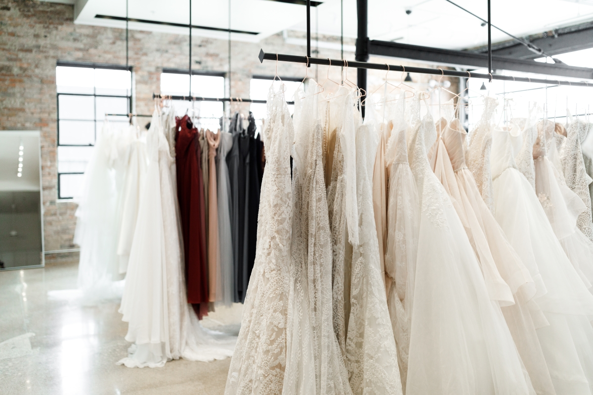 Wedding dresses inside WED Bridal Dress Boutique. Get to know this DFW wedding vendor on the Alexa Kay Events blog!