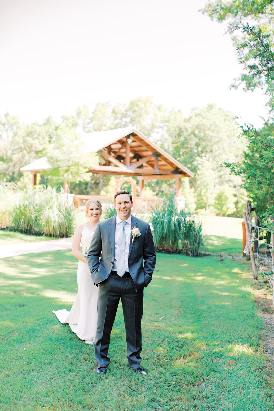 Outdoor wedding portrait: | Romantic blue Texas wedding at Spring Venue by Alexa Kay Events