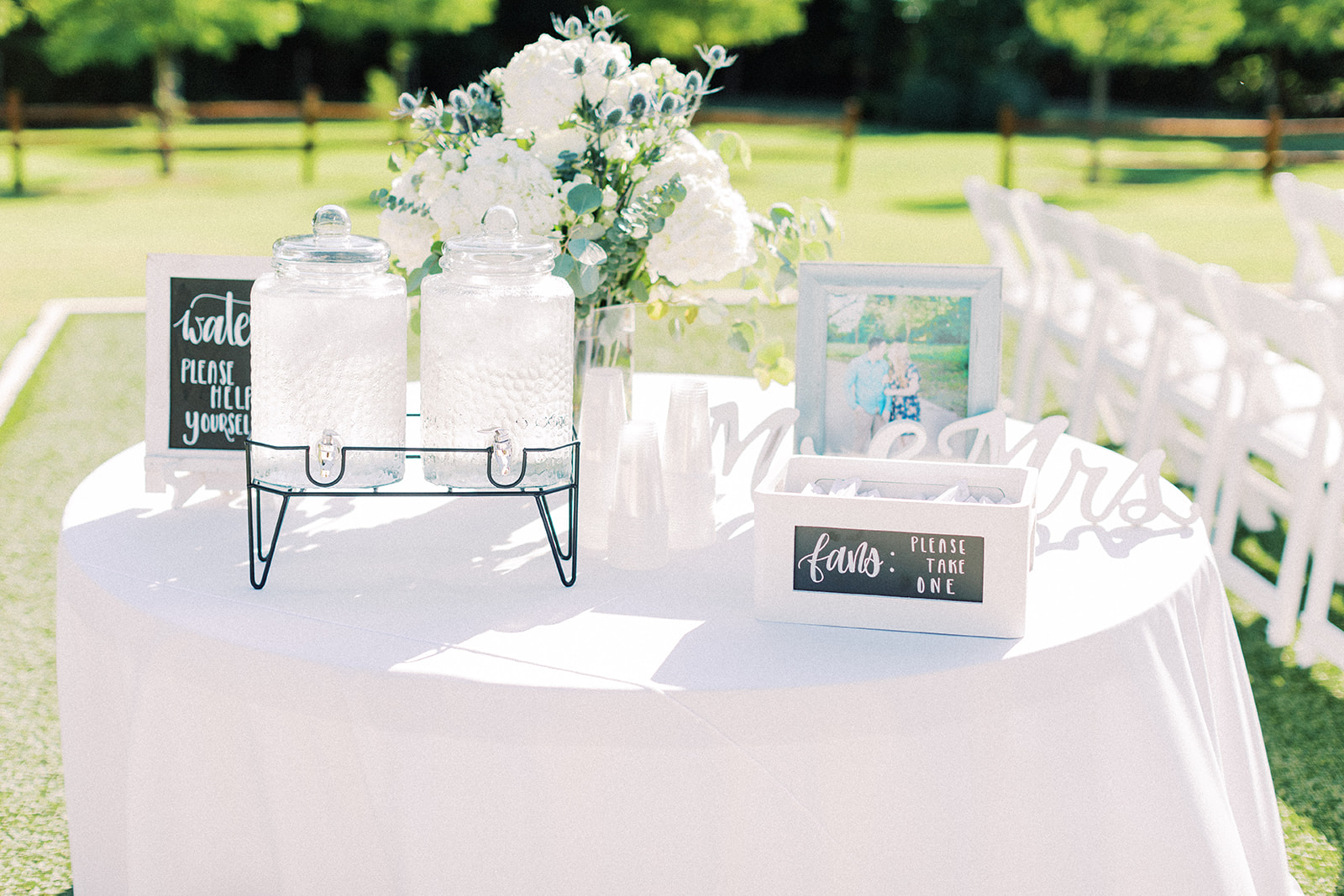 Outdoor wedding decor: | Romantic blue Texas wedding at Spring Venue by Alexa Kay Events