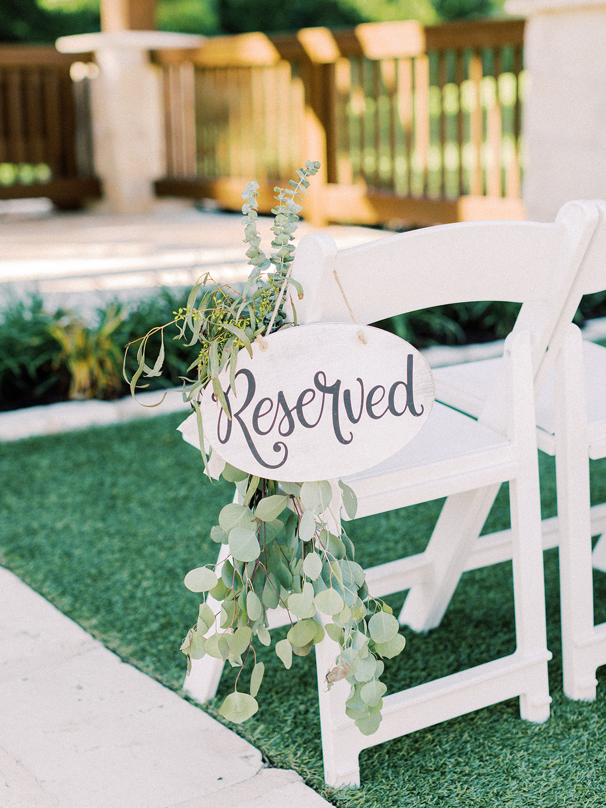 Wedding ceremony chair sign: | Romantic blue Texas wedding at Spring Venue by Alexa Kay Events