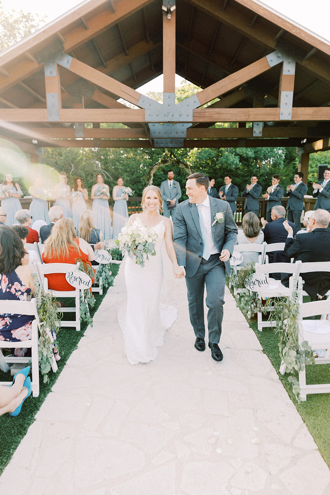 Wedding ceremony exit photos: | Romantic blue Texas wedding at Spring Venue by Alexa Kay Events