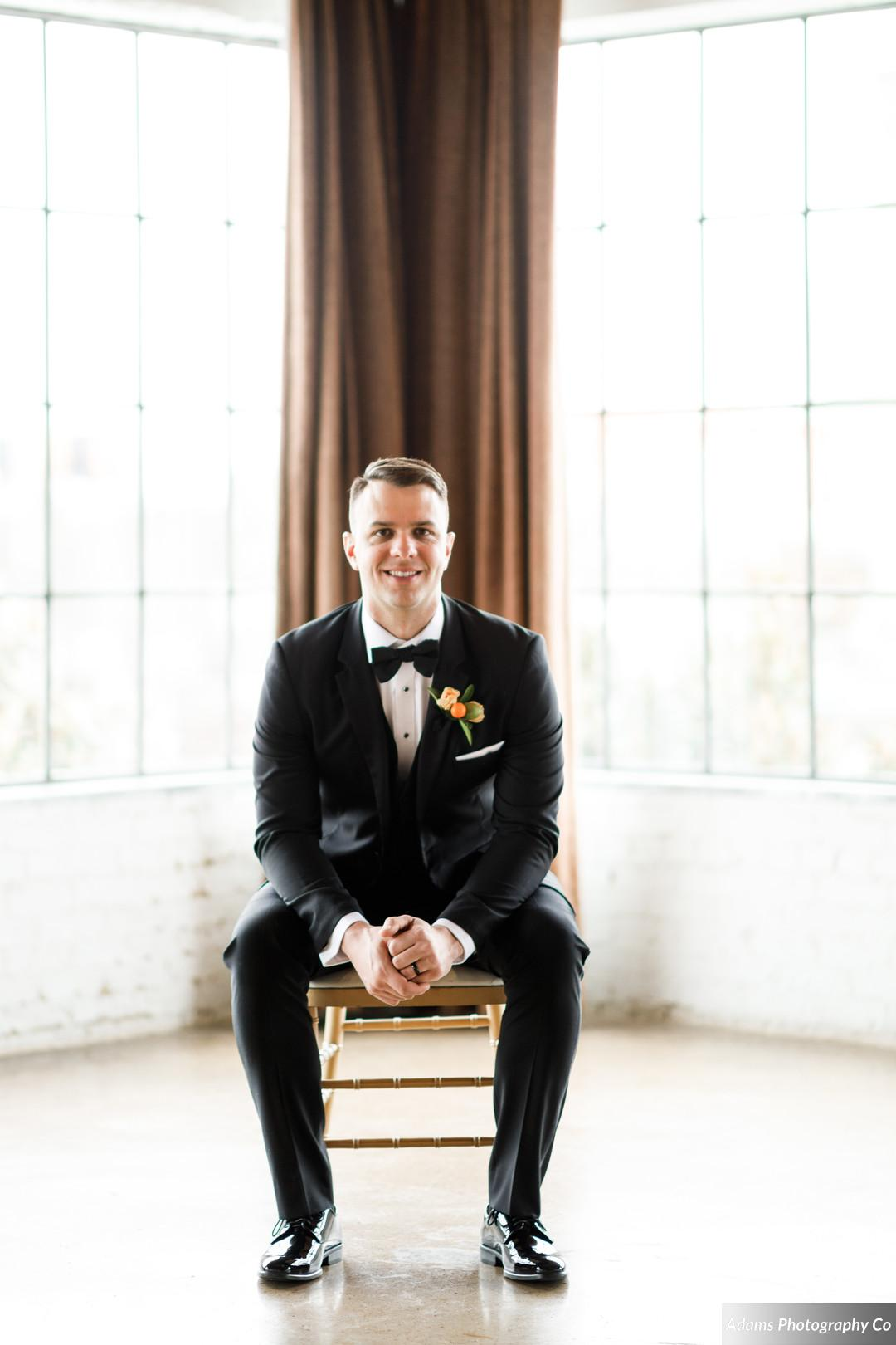Grooms portrait: Black, White, and Gold Modern Wedding Inspiration featured on Alexa Kay Events