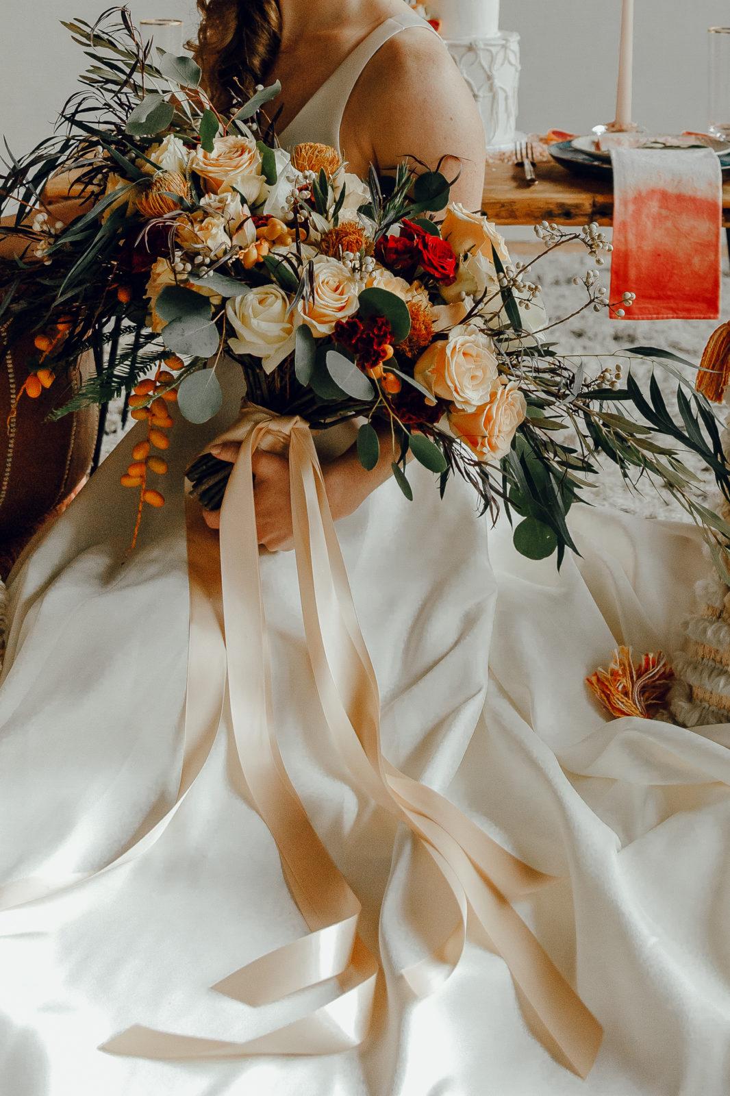 Boho orange wedding bouquet: Orange Wedding Inspiration on Alexa Kay Events