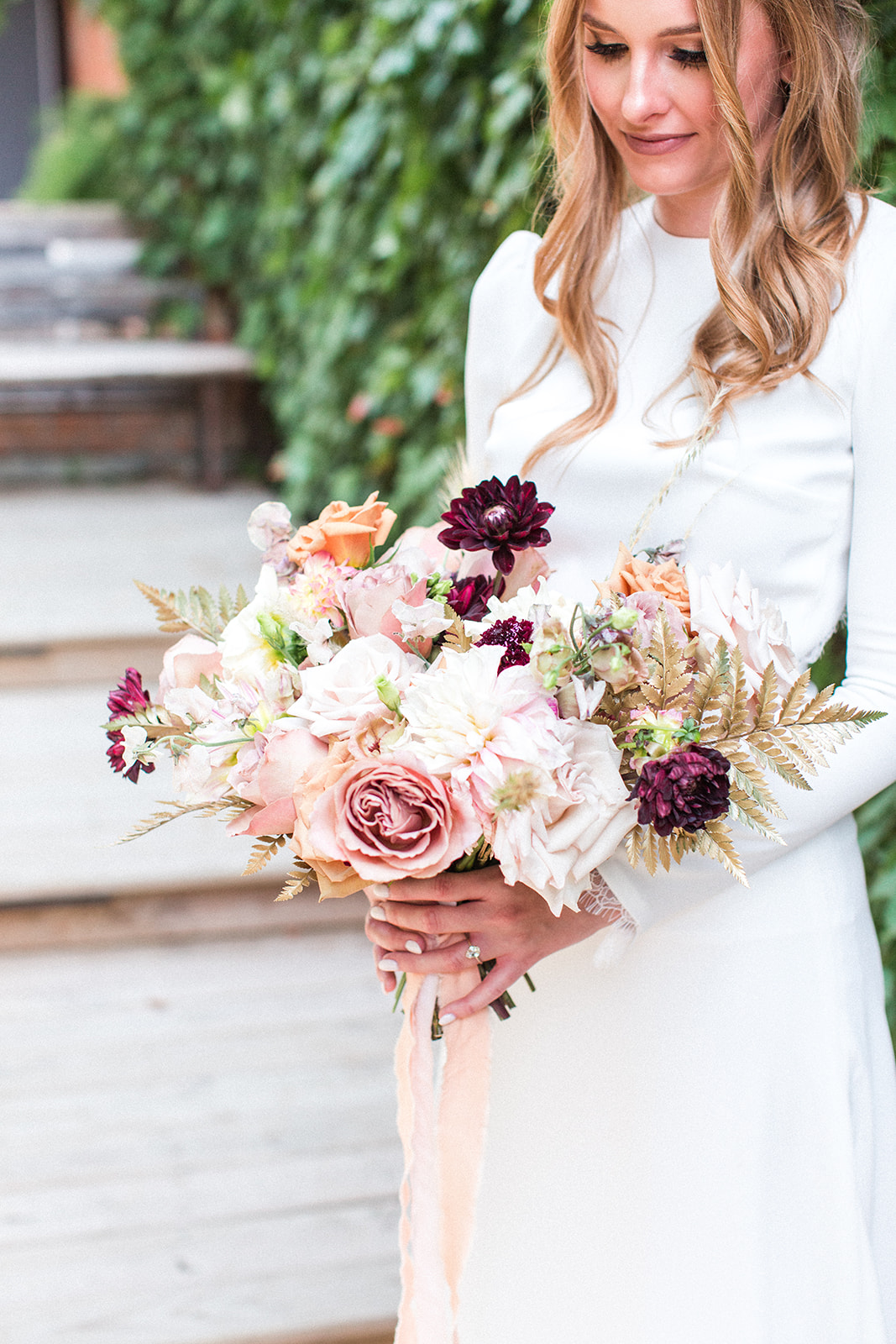 Pink and purple wedding bouquet: Fall Garden Wedding featured on Alexa Kay Events
