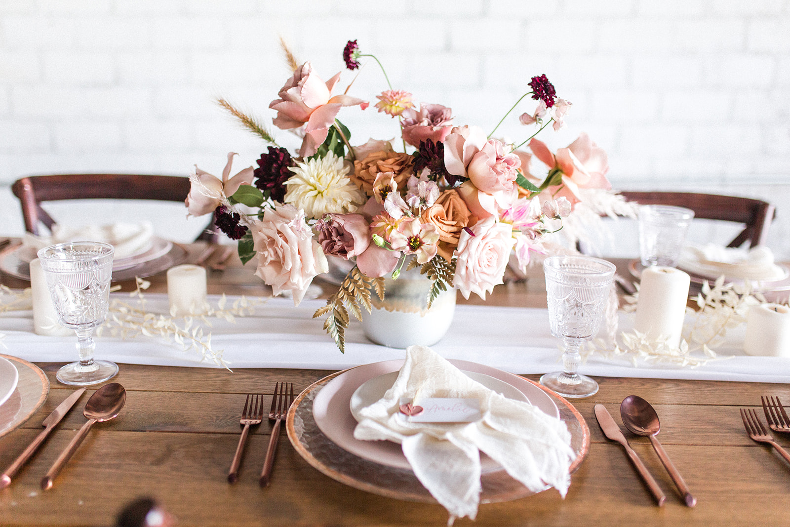 Pink wedding table setting: Fall Garden Wedding featured on Alexa Kay Events