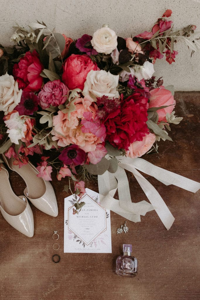 Pink and red wedding flowers: Intimate and Charming Wedding featured on Alexa Kay Events blog