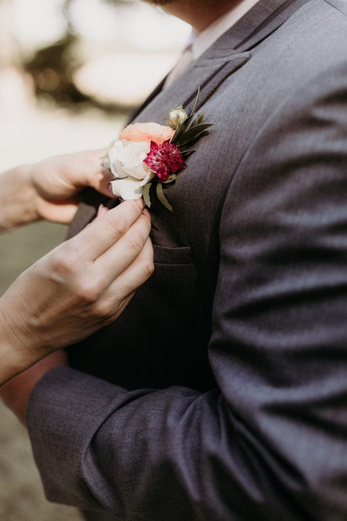 Wedding boutonniere: Intimate and Charming Wedding featured on Alexa Kay Events blog