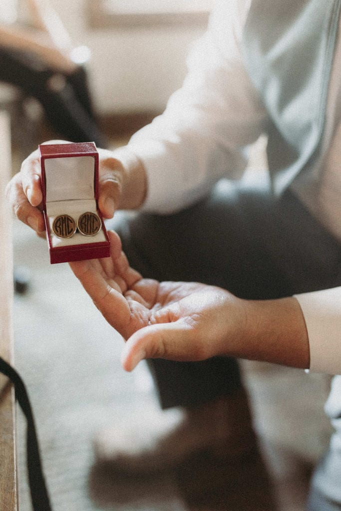 Grooms cuff links: Intimate and Charming Wedding featured on Alexa Kay Events blog
