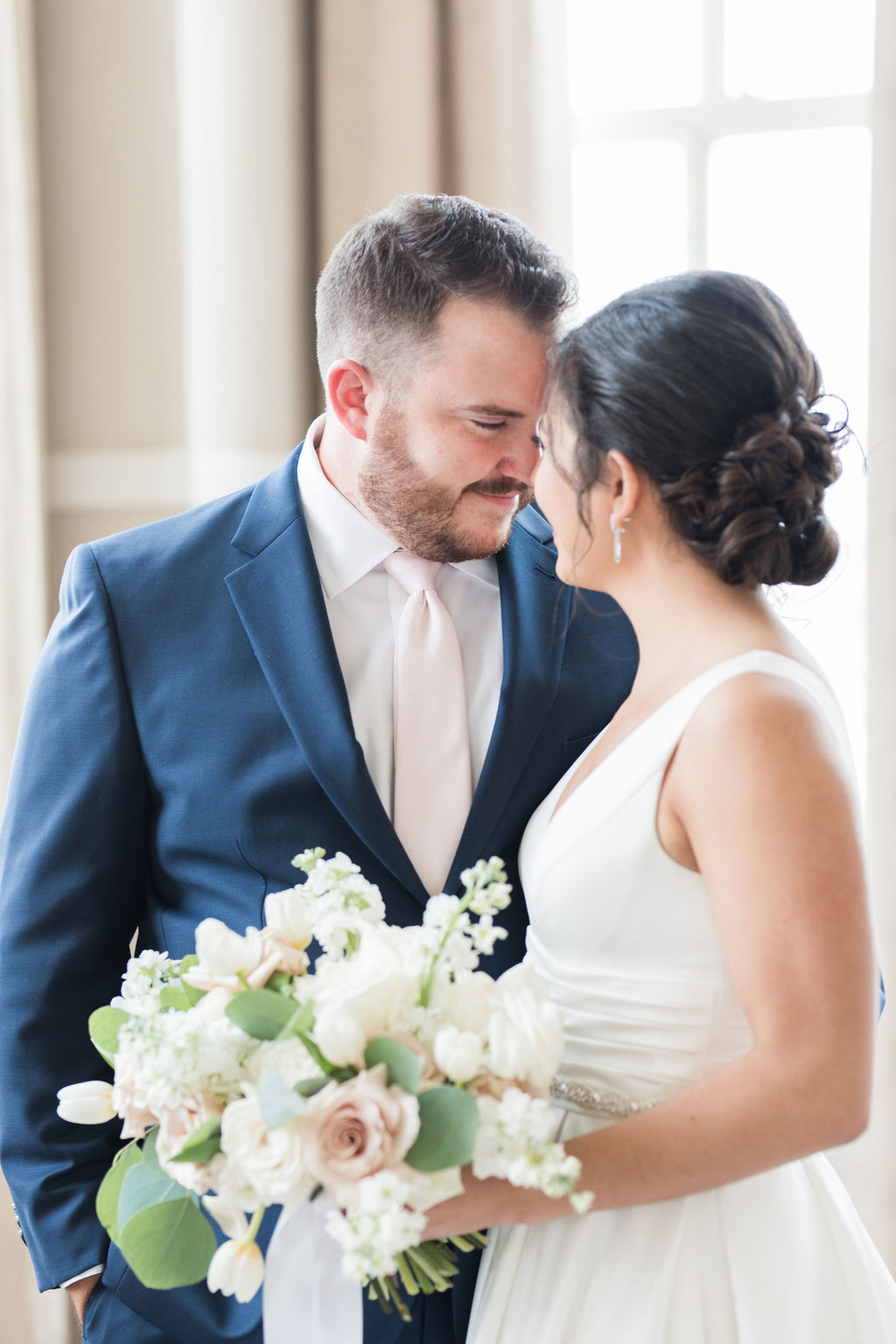 Wedding portrait: Dusty Blue and Blush Wedding at The Room on Main featured on Alexa Kay Events!