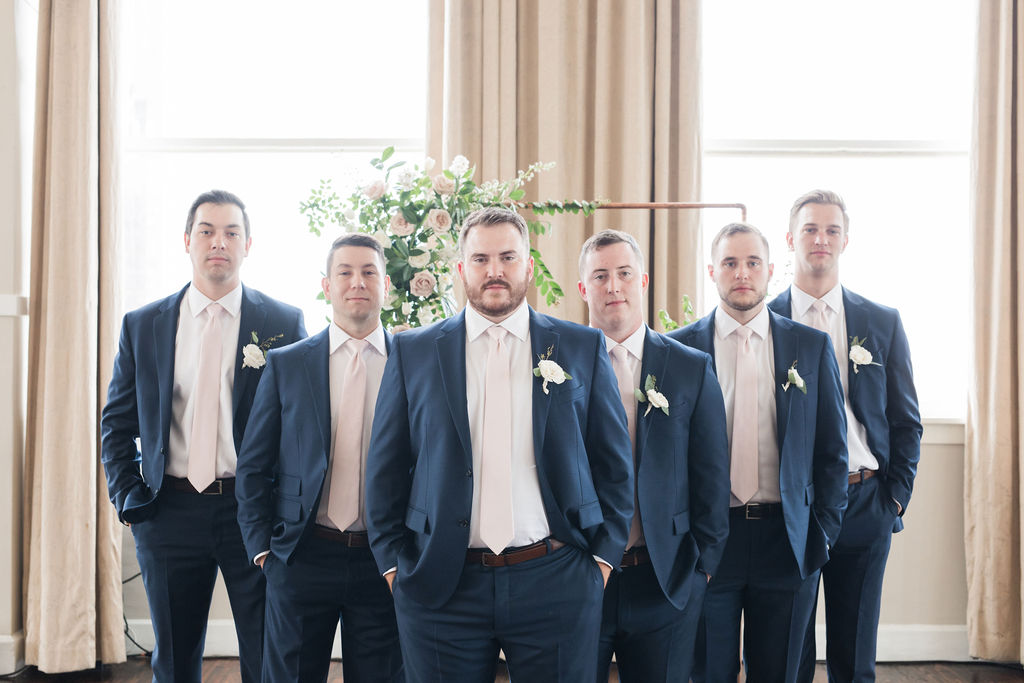 Navy Men's Wearhouse tuxedo: Dusty Blue and Blush Wedding at The Room on Main featured on Alexa Kay Events!
