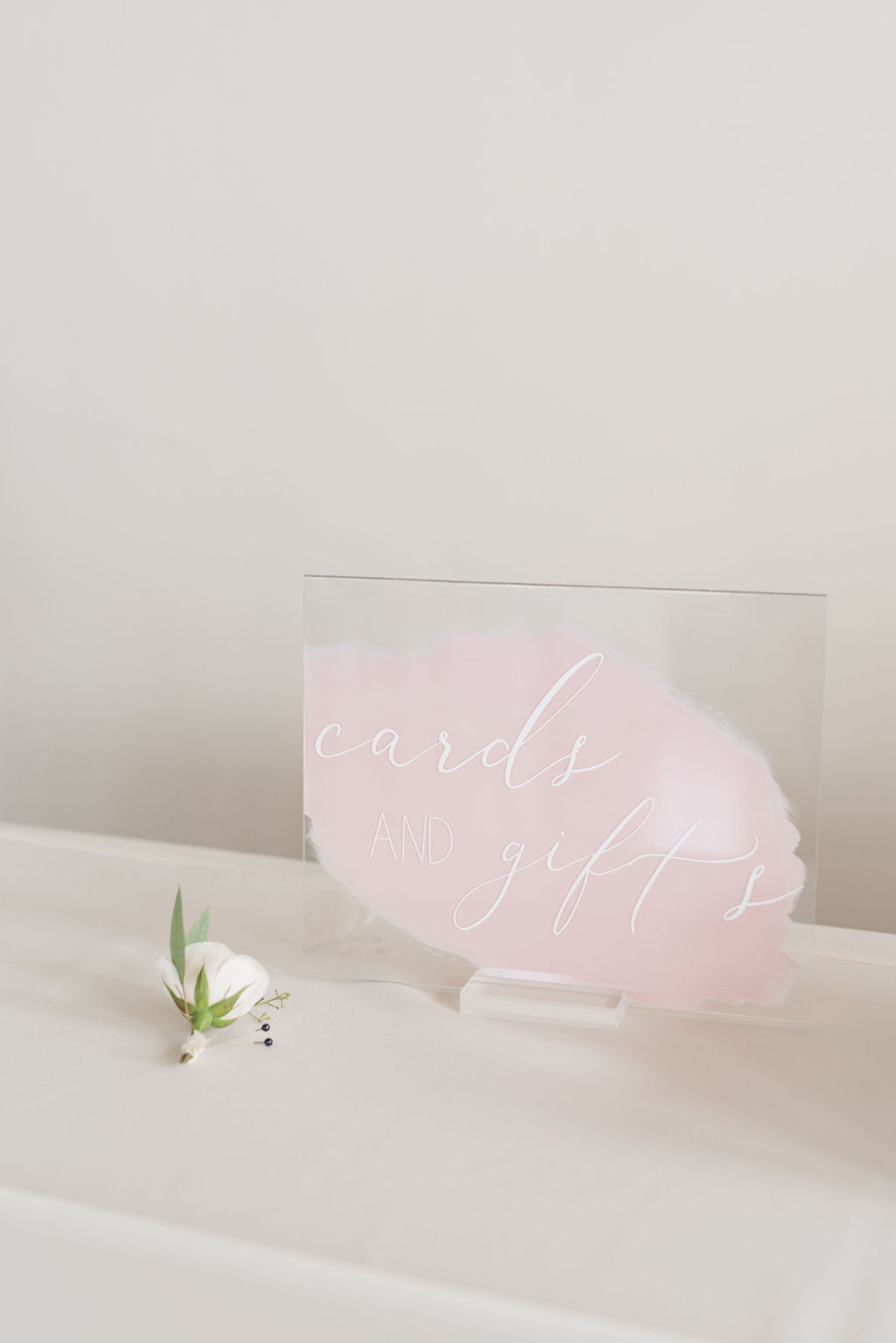 Blush pink acrylic wedding sign: Dusty Blue and Blush Wedding at The Room on Main featured on Alexa Kay Events!