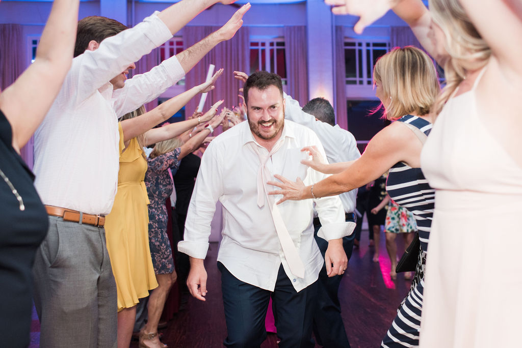Groom Dancing: Dusty Blue and Blush Wedding at The Room on Main featured on Alexa Kay Events!