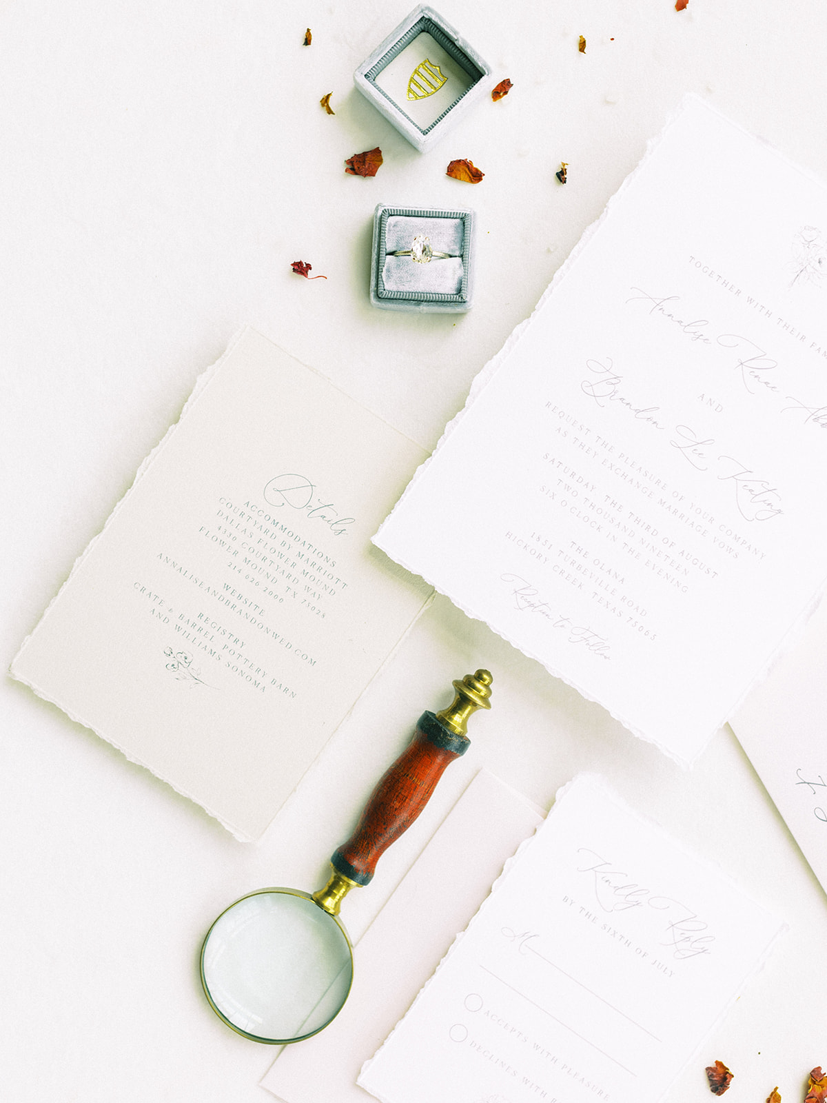 "Wedding flatlay"" Whimsical garden elegance styled shoot featured on Alexa Kay Events"