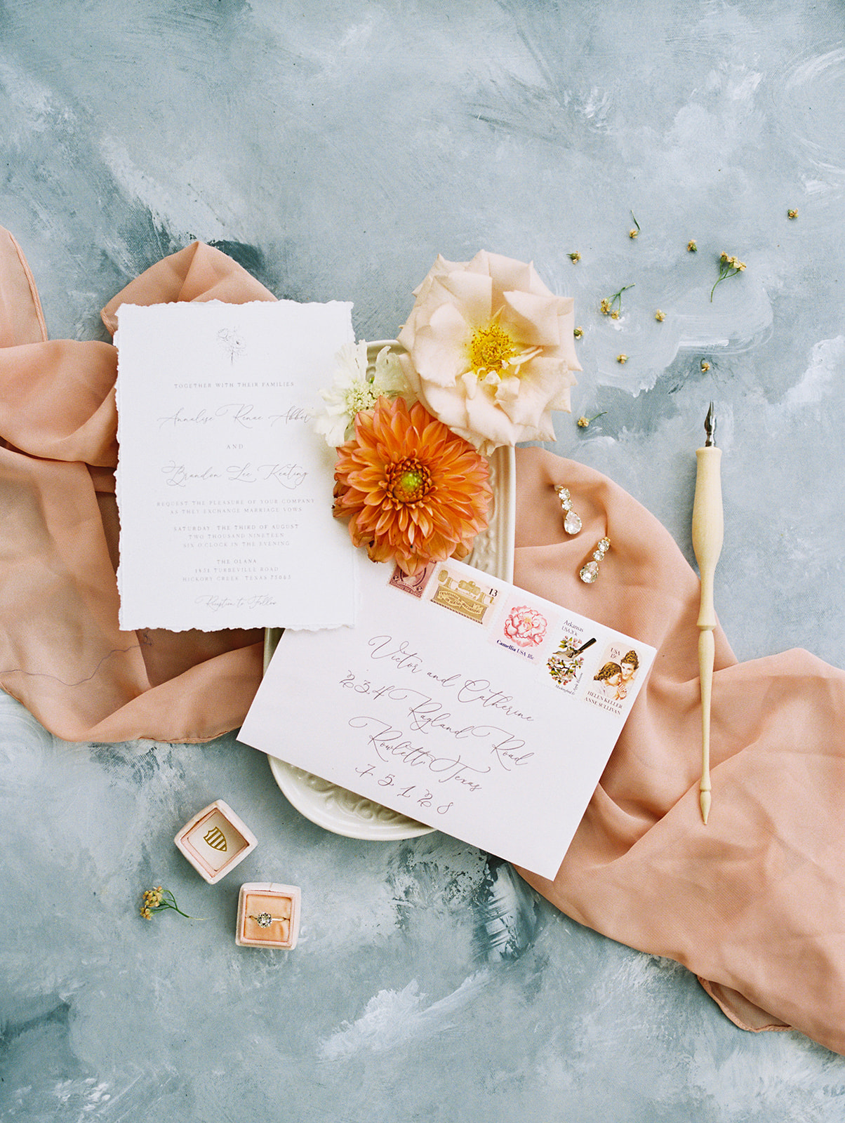 Wedding stationery; Whimsical garden elegance styled shoot featured on Alexa Kay Events