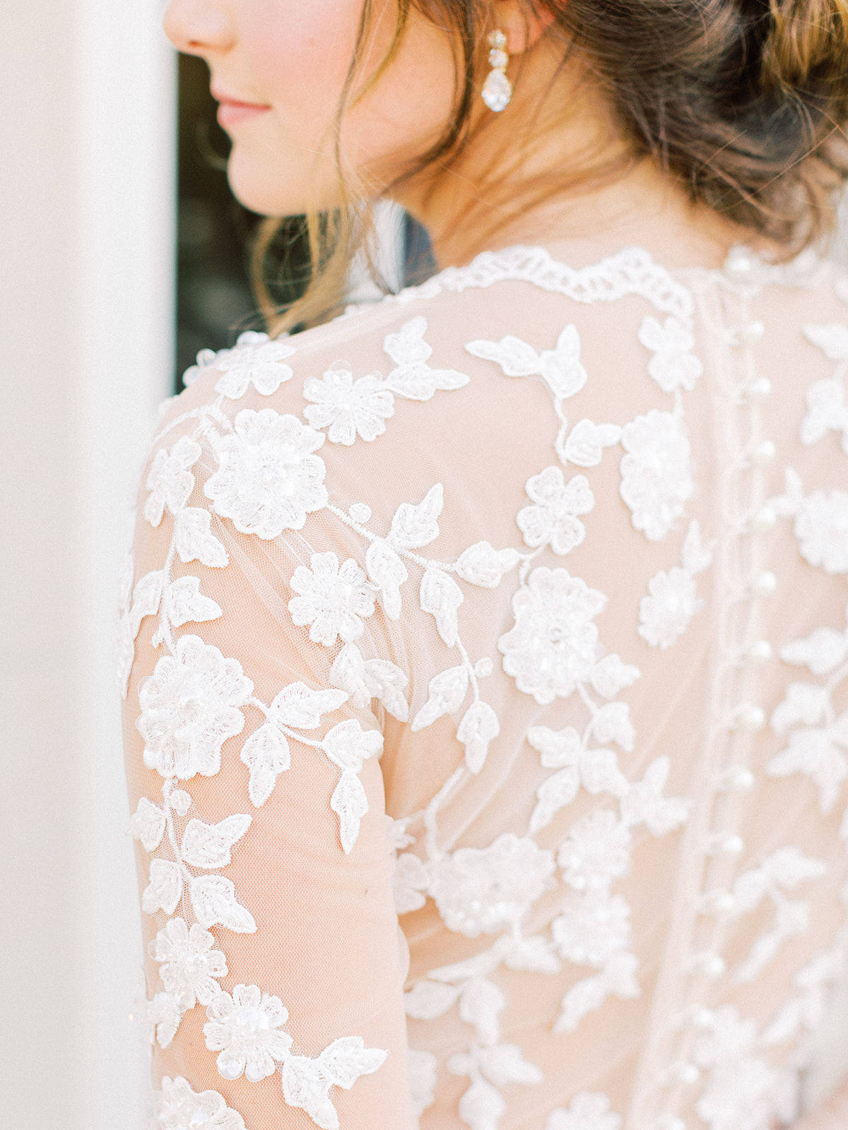 Wedding dress detail: Whimsical garden elegance styled shoot featured on Alexa Kay Events