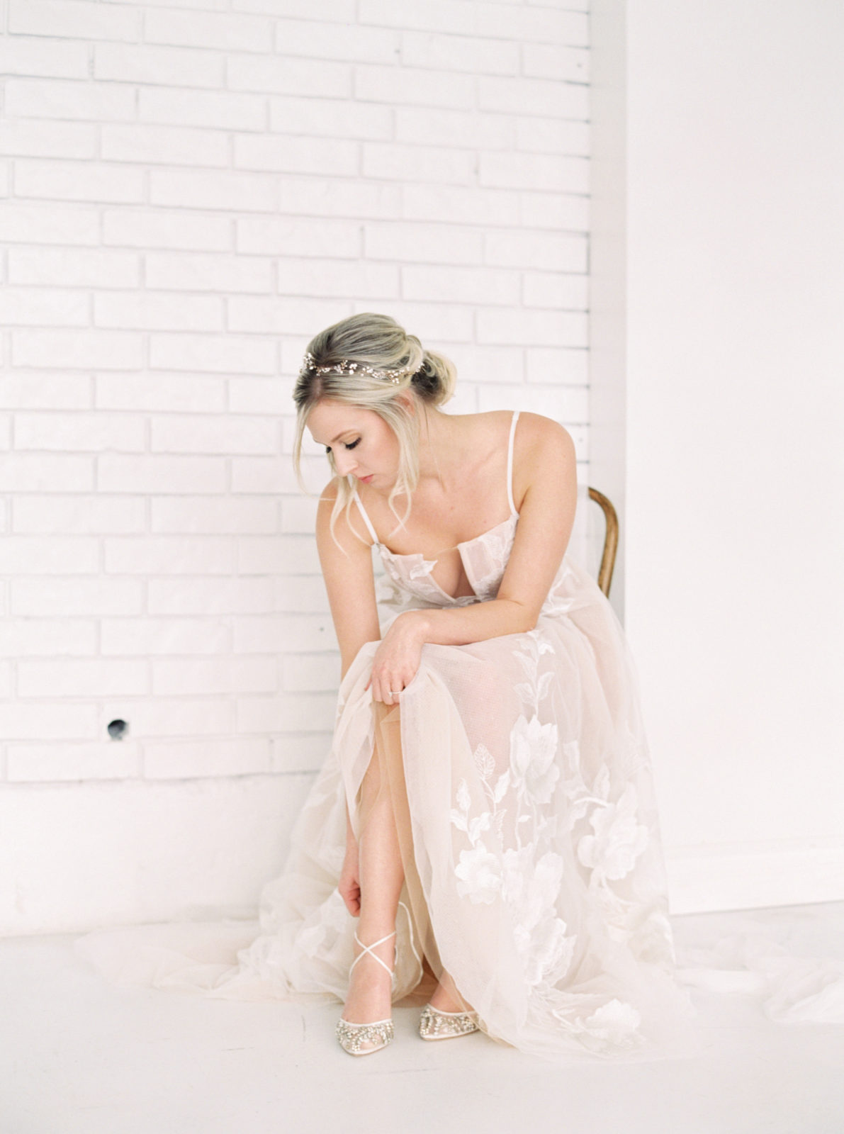 Bridal portrait with lace wedding dress for light and airy styled shoot