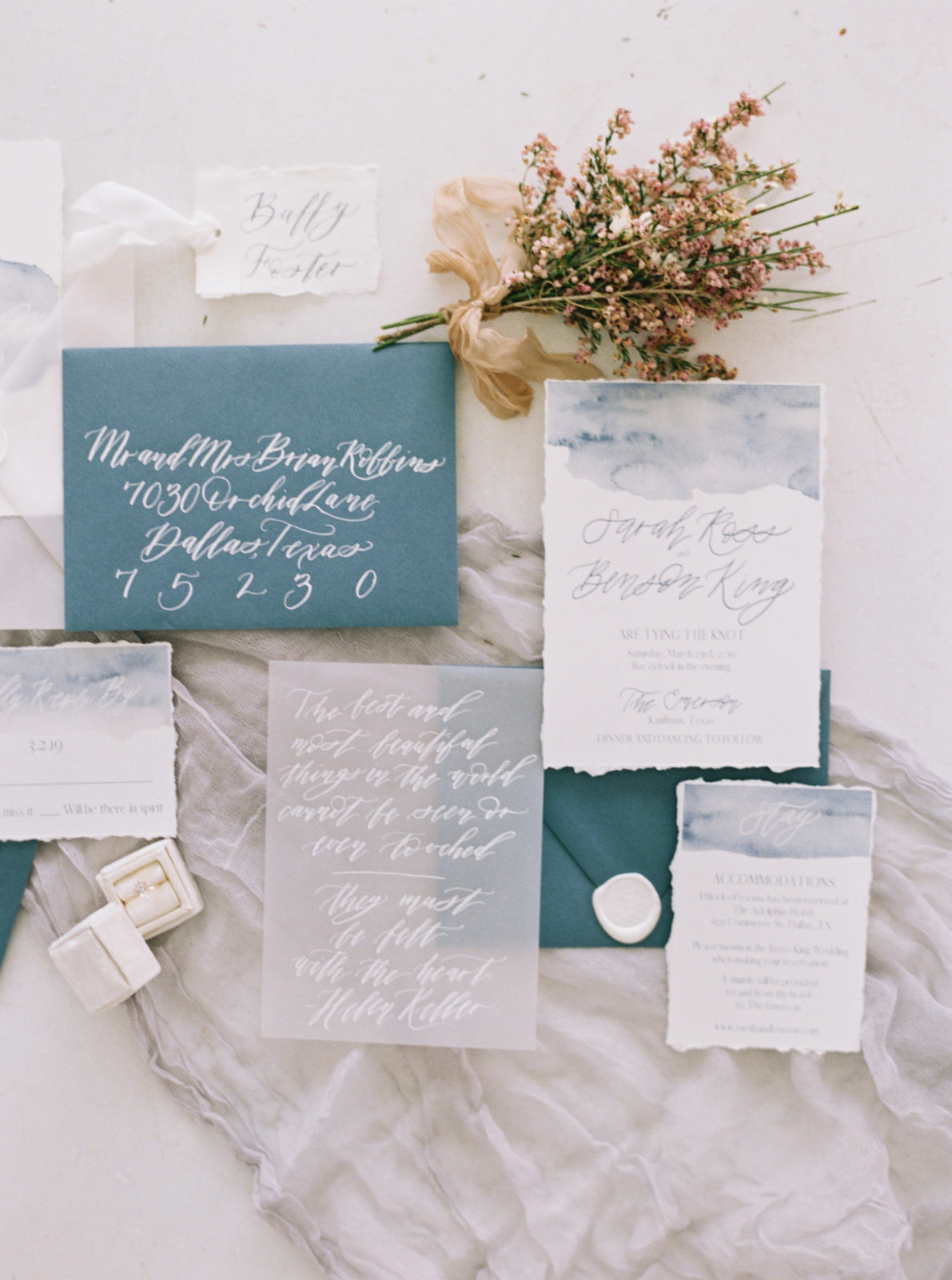 Slate blue and ivory wedding invitation suite design on Alexa Kay Events.