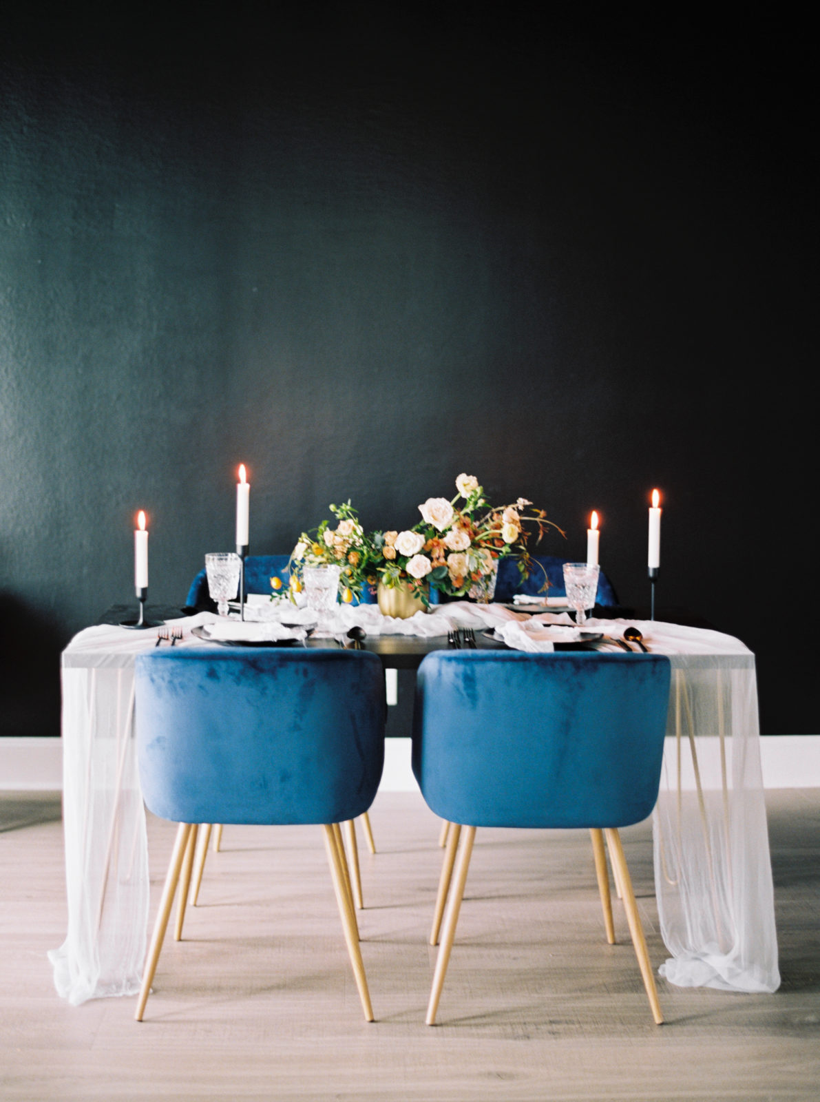 Modern blue and gold wedding chairs featured on Alexa Kay Events