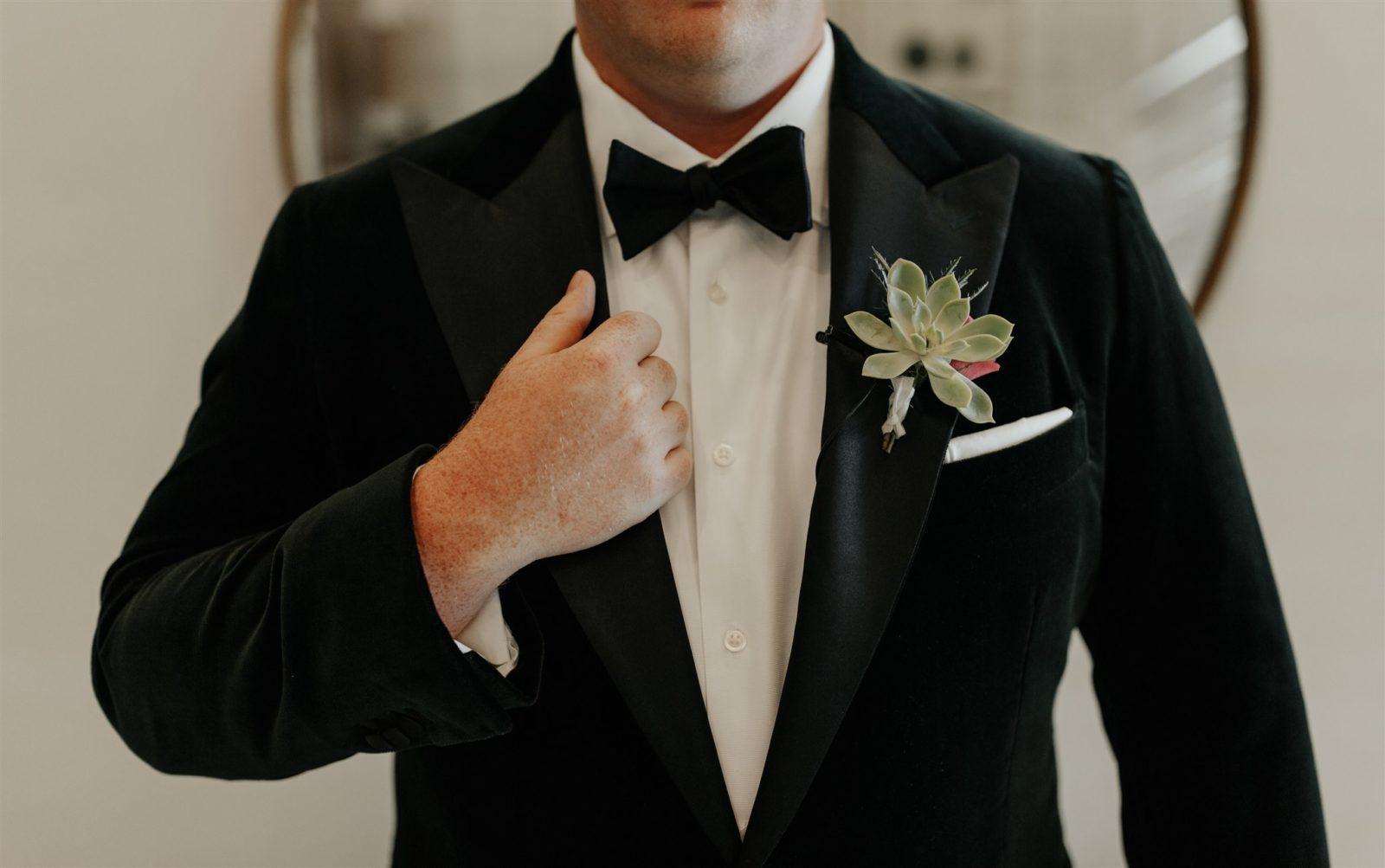 The Black Tux Velvet Tuxedo Jacket for Moody Wedding on Alexa Kay Events