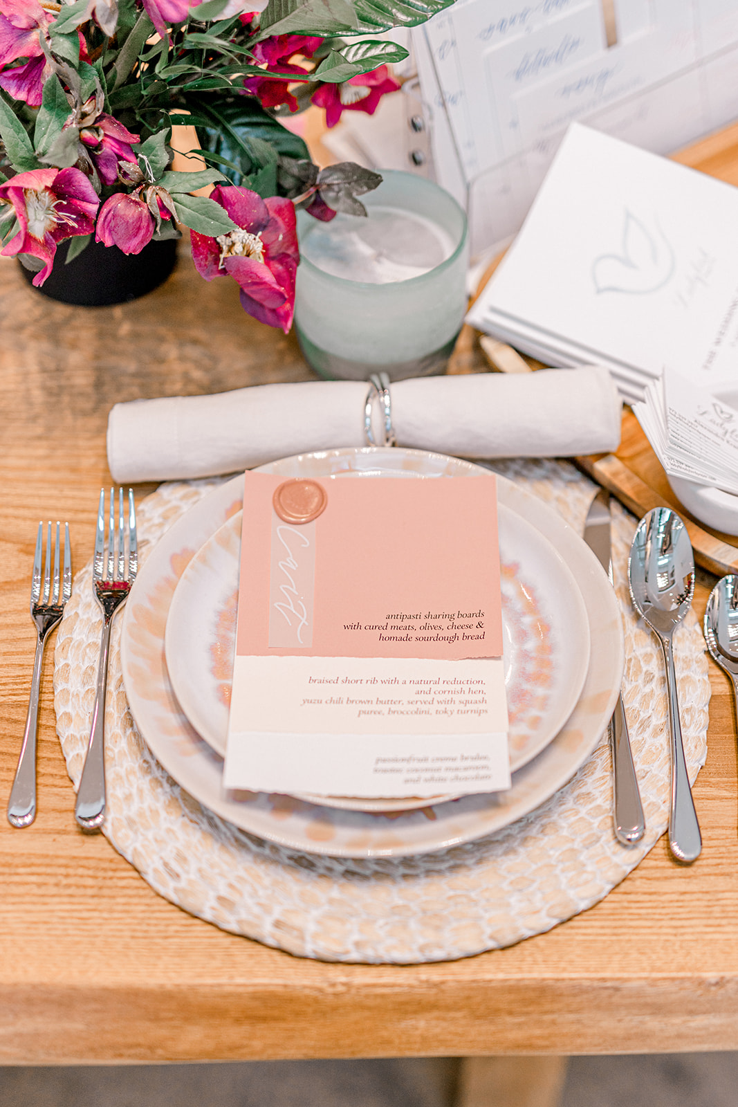 Spring wedding place setting: Crate and Barrel Collaboration with Alexa Kay Events