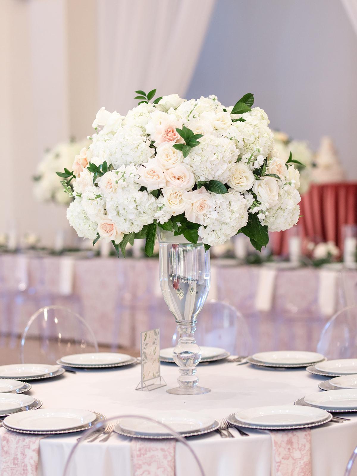 Tall White Wedding Centerpiece: Luxurious Knotting Hill Place Wedding