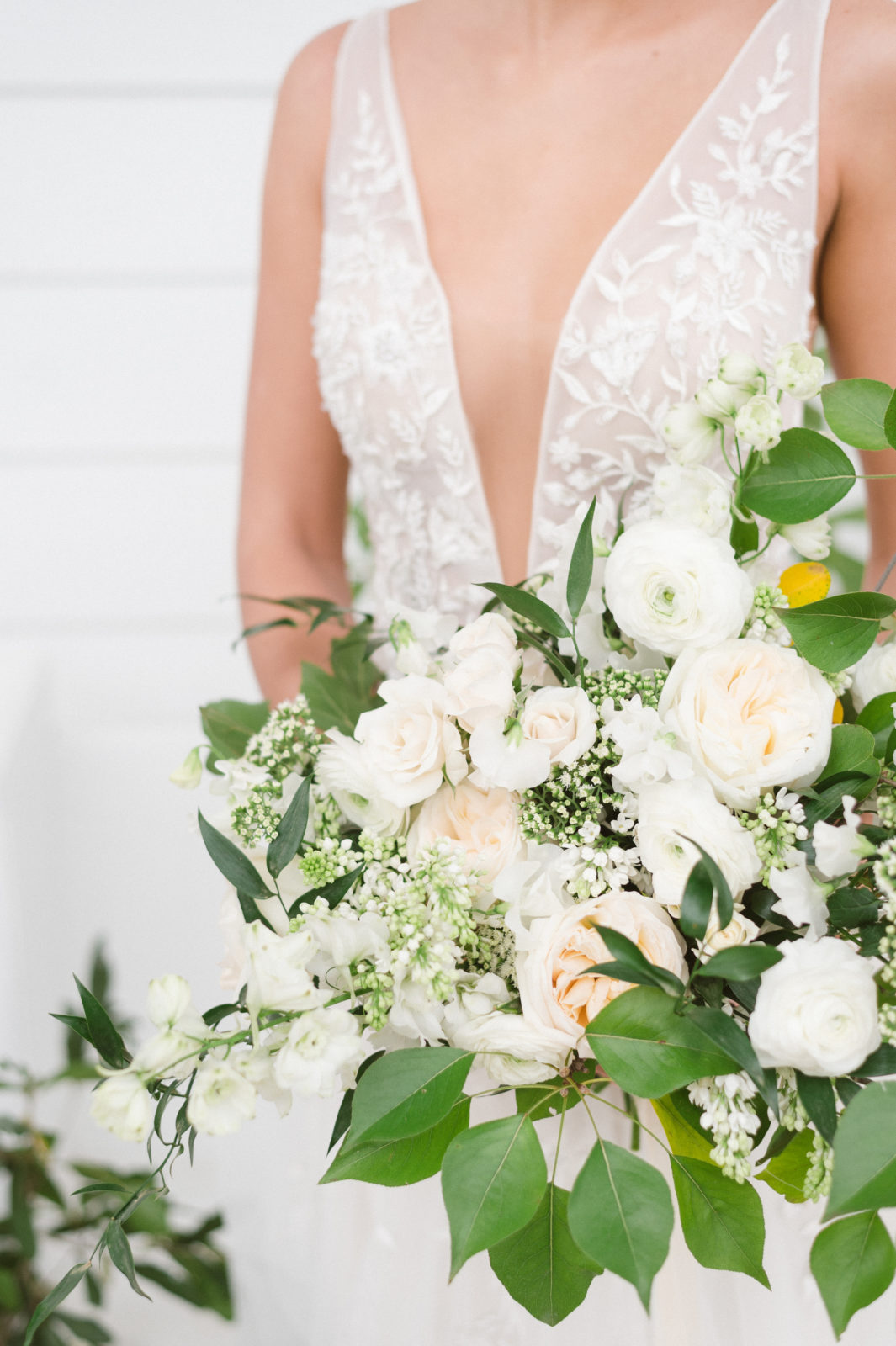 Alba Dahlia Floral White and Greenery Wedding Bouquet