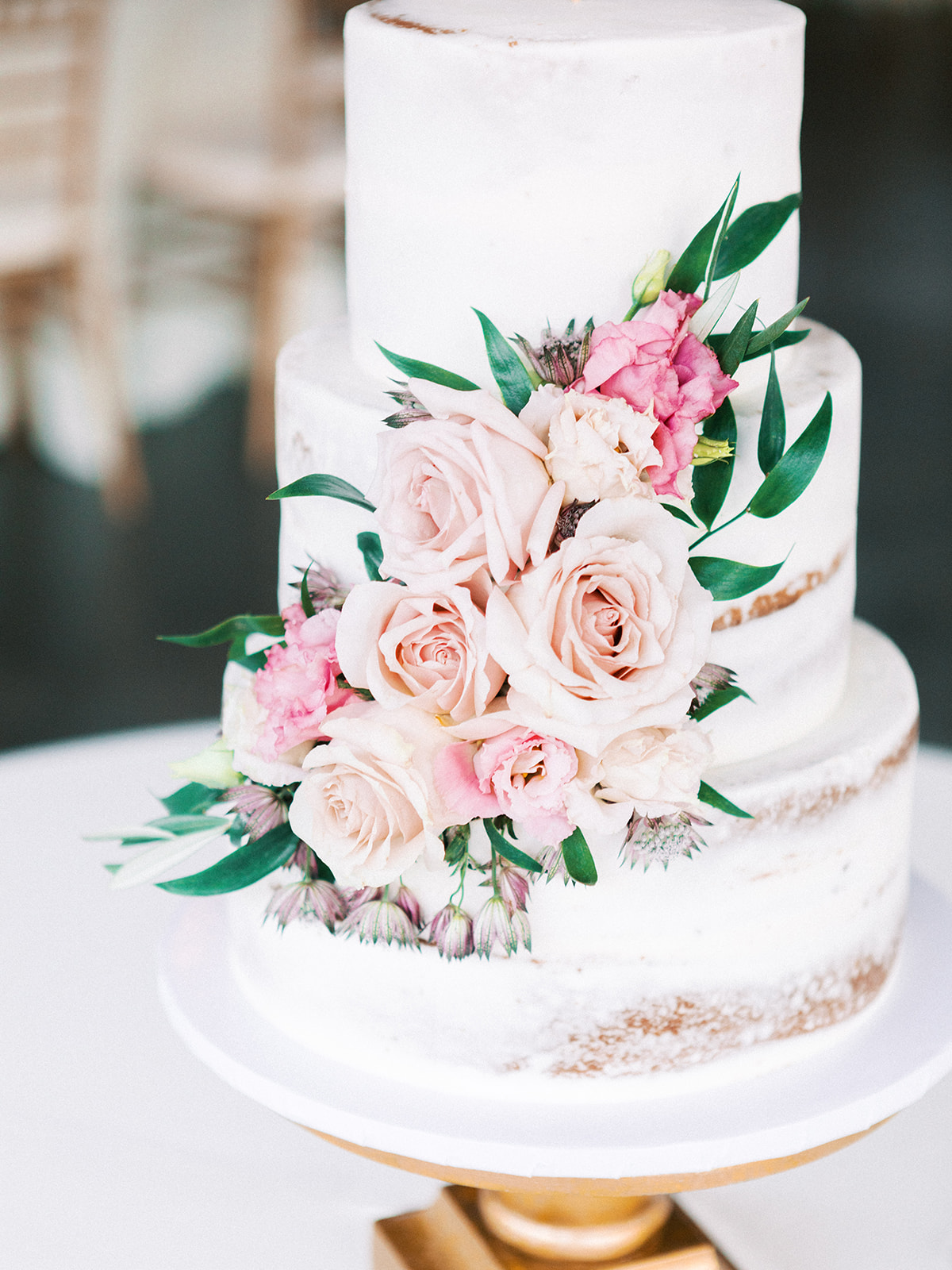 Pink Floral Semi-Naked Wedding Cake: Feminine and Whimsical Clark Gardens Wedding