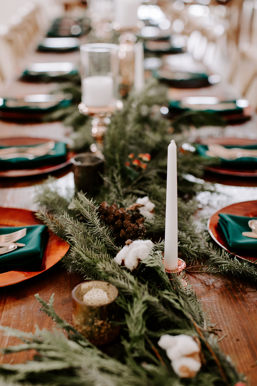 Greenery Wedding Table Runner: Romantic Winter Wedding at The Grand Ivory