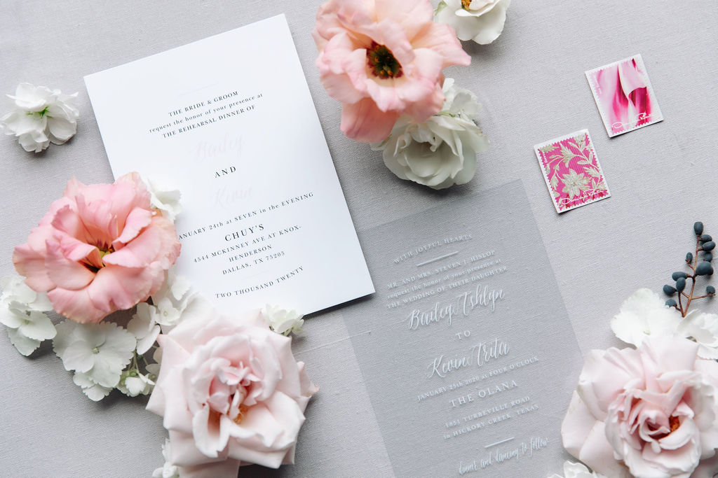 Black and white wedding stationery: Dreamy Pink and Gray Wedding at The Olana