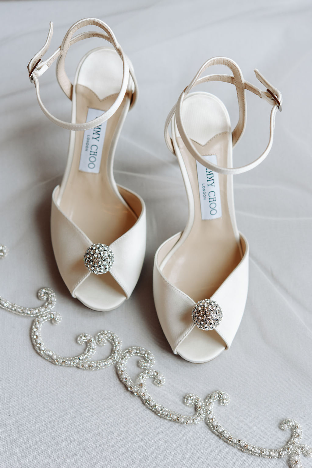 Embellished wedding shoes: Dreamy Pink and Gray Wedding at The Olana