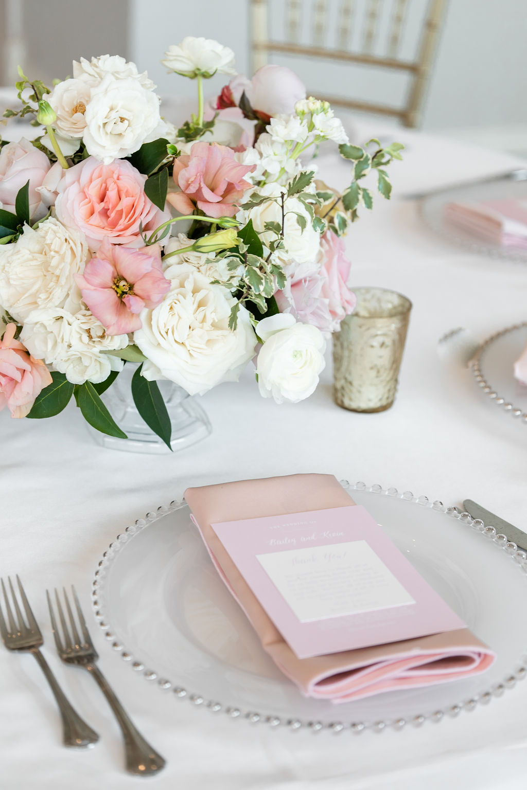 Pink and silver wedding place setting: Dreamy Pink and Gray Wedding at The Olana