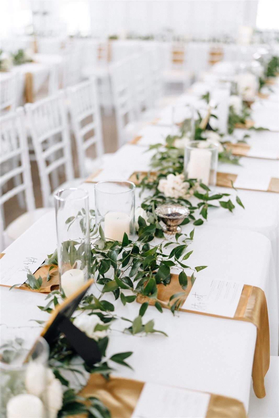 Greenery Wedding Table Runners: Simply Modern Firefly Gardens Wedding featured on Alexa Kay Events
