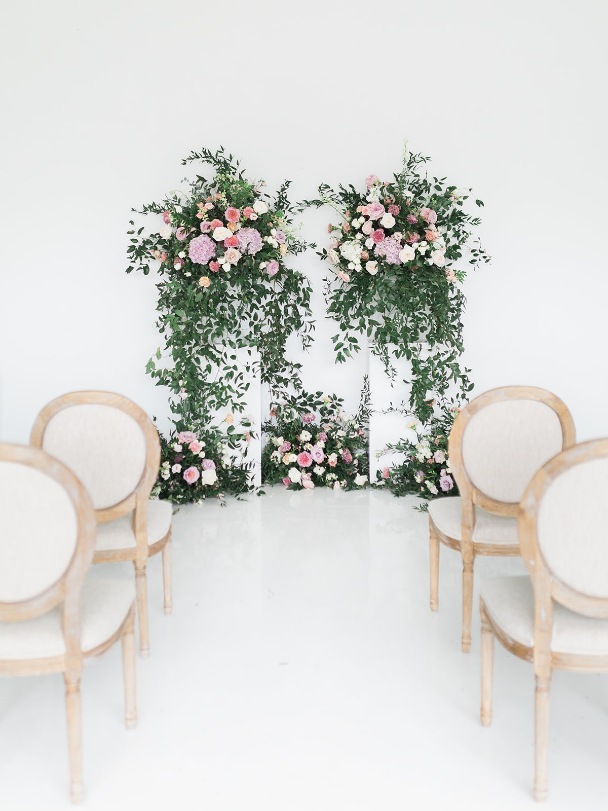Wedding ceremony inspiration: Pink Floral Wedding Inspiration at The Lumen Room featured on Alexa Kay Events