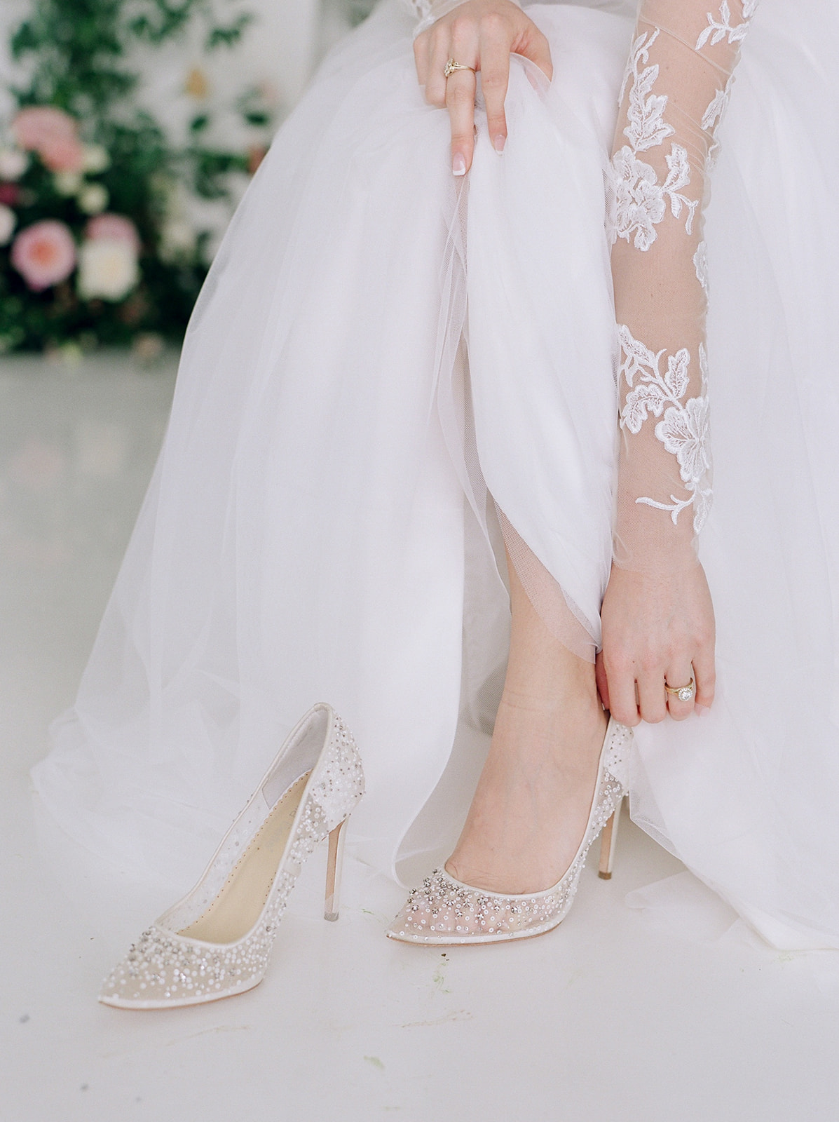 Bella Belle wedding shoes: Pink Floral Wedding Inspiration at The Lumen Room featured on Alexa Kay Events