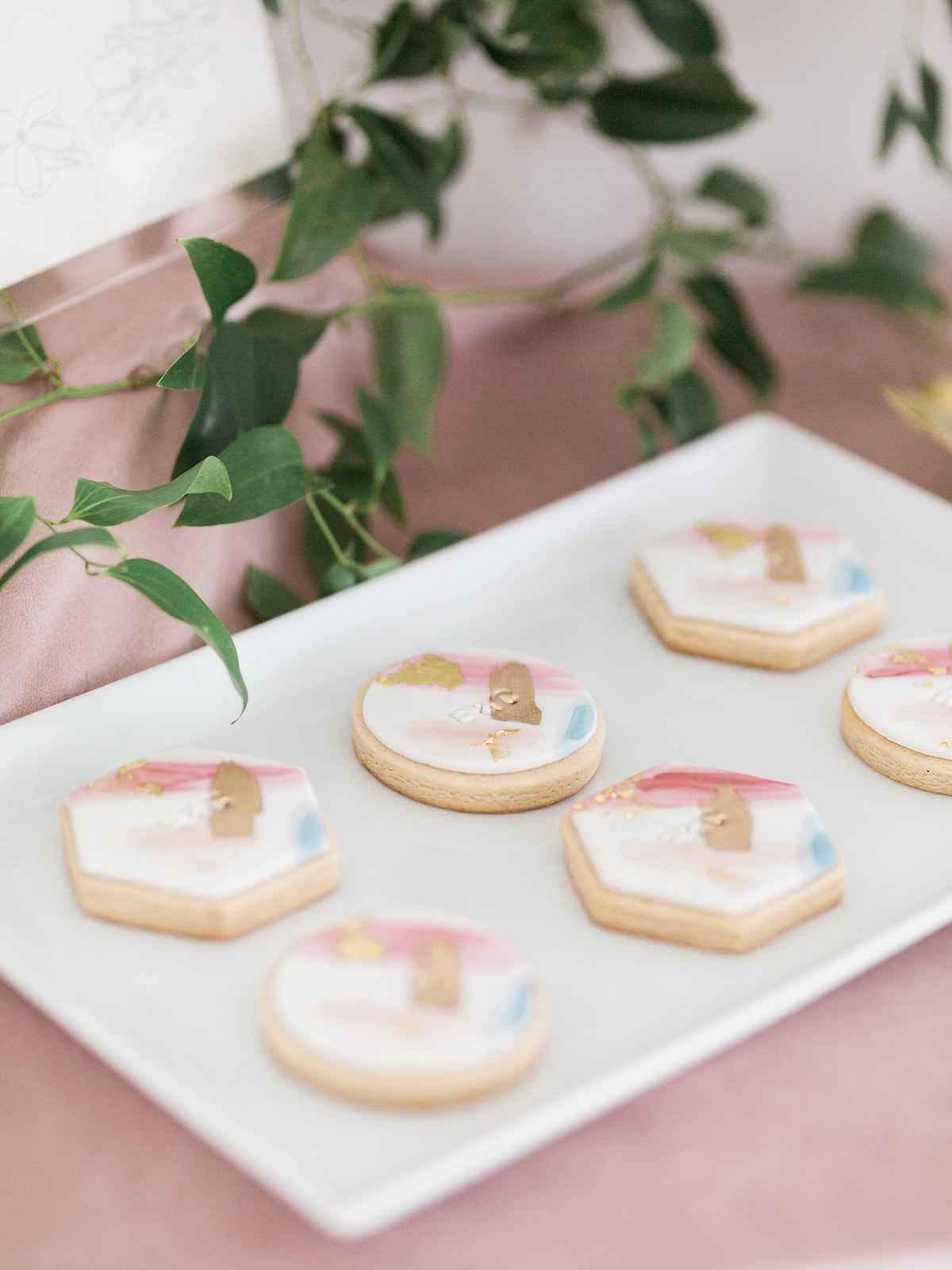 Wedding cookie designs: Pink Floral Wedding Inspiration at The Lumen Room featured on Alexa Kay Events