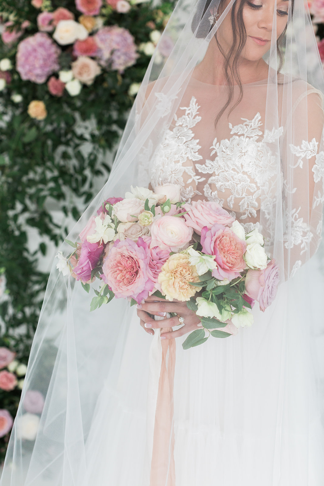 Shades of pink wedding bouquet: Pink Floral Wedding Inspiration at The Lumen Room