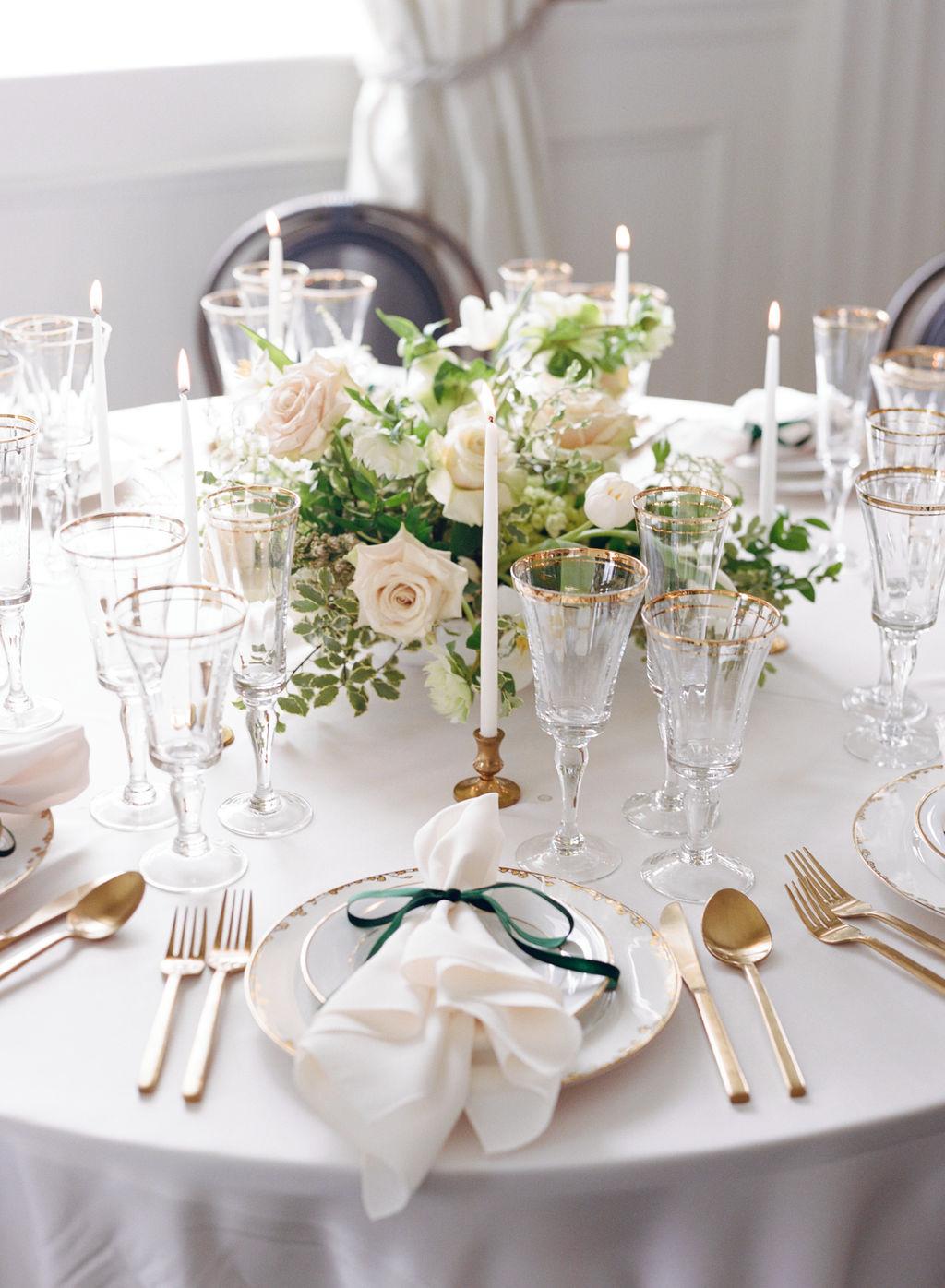 Greenery and gold wedding table decor: Elegant Dallas Wedding Inspiration at The Mason featured on Alexa Kay Events