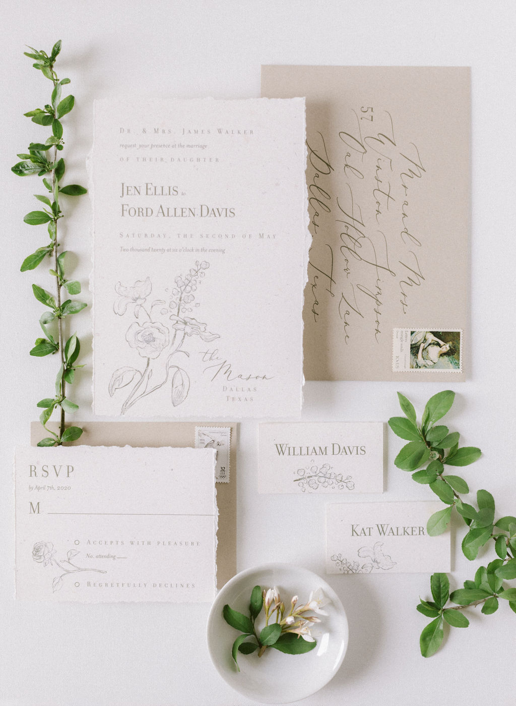 Neutral colored wedding invitation design: Elegant Dallas Wedding Inspiration at The Mason featured on Alexa Kay Events