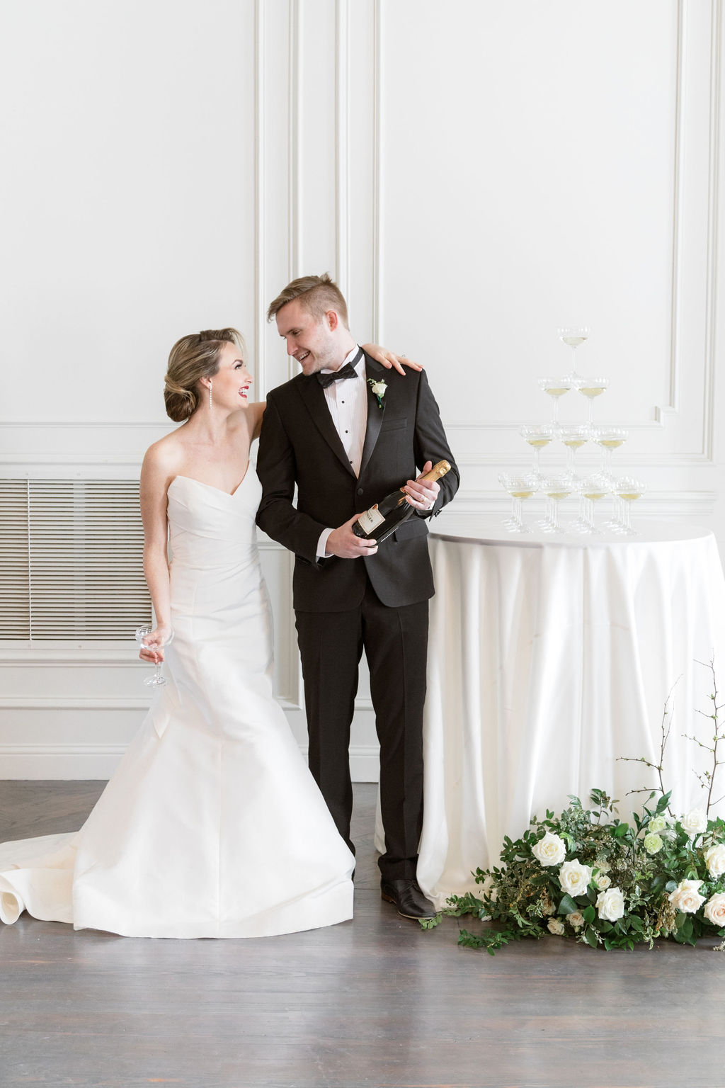 Strapless wedding dress: Elegant Dallas Wedding Inspiration at The Mason featured on Alexa Kay Events