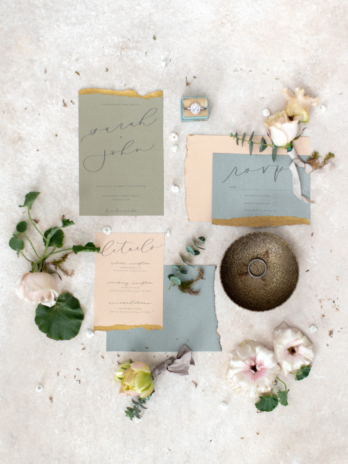 Wedding invitation design: Whimsical Wedding Inspiration at The Place at Tyler from The Bridal Masterclass featured on Alexa Kay Events