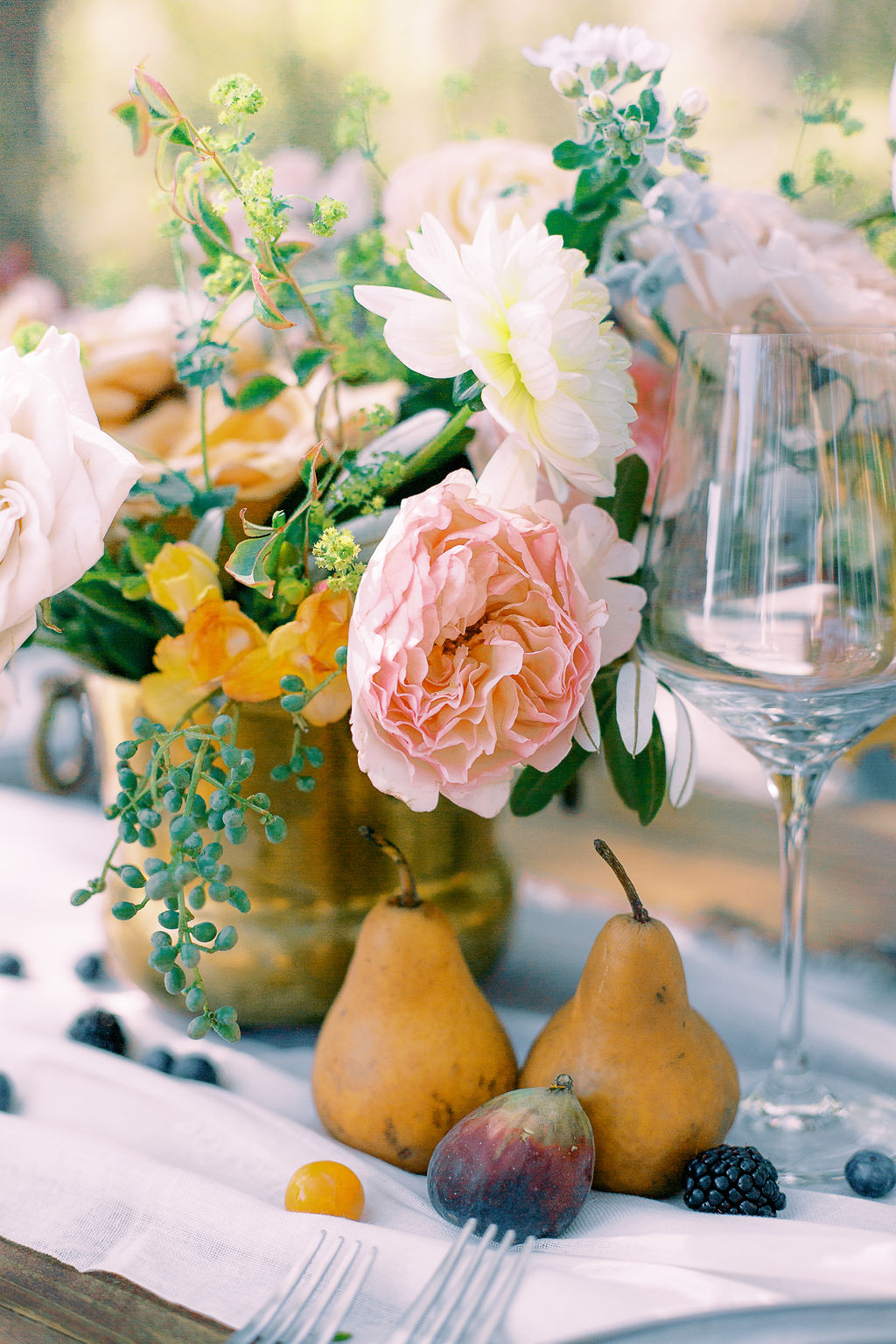 Fruit wedding table decor: Ethereal Wedding Inspiration at The White Sparrow